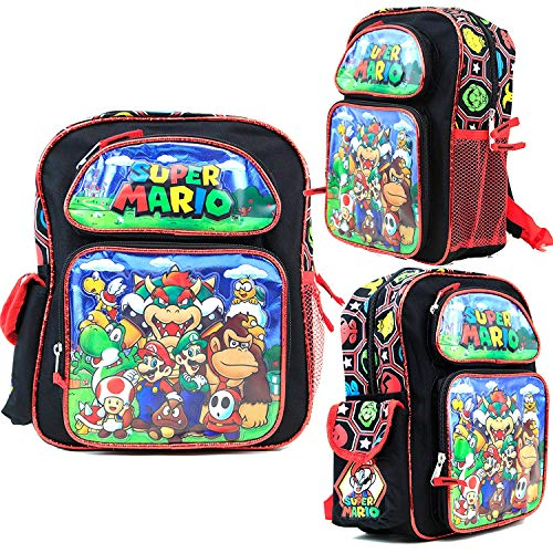 Disney Super Mario Kids 12 Inch Toddler School Backpack Canvas Book Bag New ()