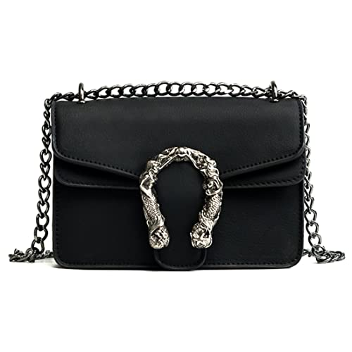 c017e72104e96 Women PU Leather Messenger Handbags Shoulder Cover Crossbody Bags for  Ladies (Black)
