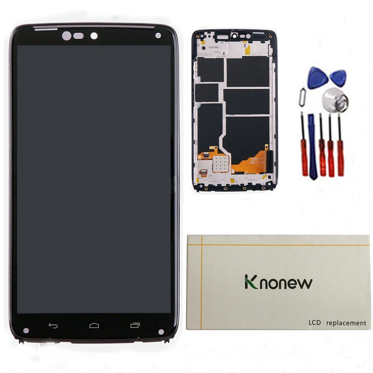 KNONEW For Motorola Droid Turbo XT1254 LCD Display Touch Screen Digitizer Assembly Replacement +Frame Tools(Black)