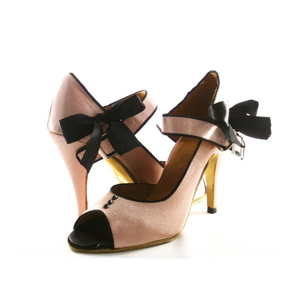 Byjia Mode Tanz Frauen Tanz Mode Sandalen Chunky Ferse Leder Kuh Wildleder Latin Salsa Tango Knöchel Strappy Wölbung Ballroom Schuhe Haut Tone B ea1099
