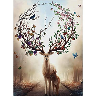 1000 Piece Jigsaw Puzzle - Deer in The Forest Jigsaw Puzzle for Kids Adult Man Women Teens Reduced Pressure Toy Gift - Learning and Education Toys: Toys & Games