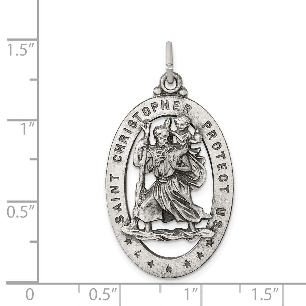 Solid 925 Sterling Silver St.Christopher Medal 20mm x 36mm