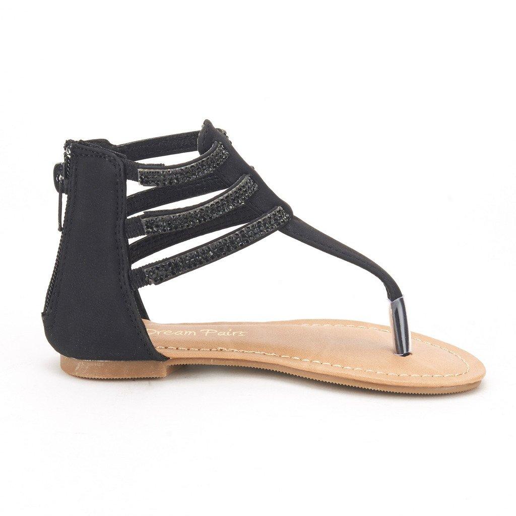 675e10511012 Galleon - DREAM PAIRS ROCKSTAR-K Girl s Glamorous Gladiator Thong Strap  Back Zipper Ankle Straps Flat Sandals(Toddler Little Kid Big Kid) BLACK  SIZE 4