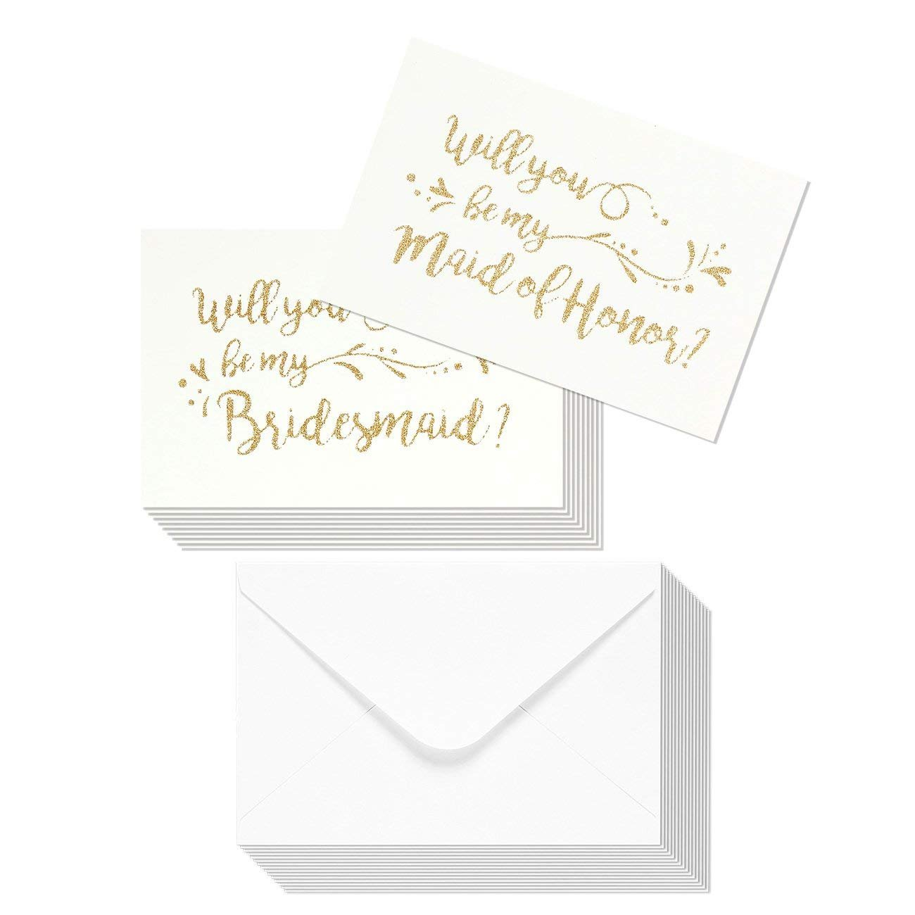 12-Pack Bridesmaid Cards - Bridesmaid Proposal Set for Weddings, Bridal Showers, Maid of Honor Invitations with Envelopes, White with Gold Glitter Lettering, 2 Designs, 4 x 6 inches