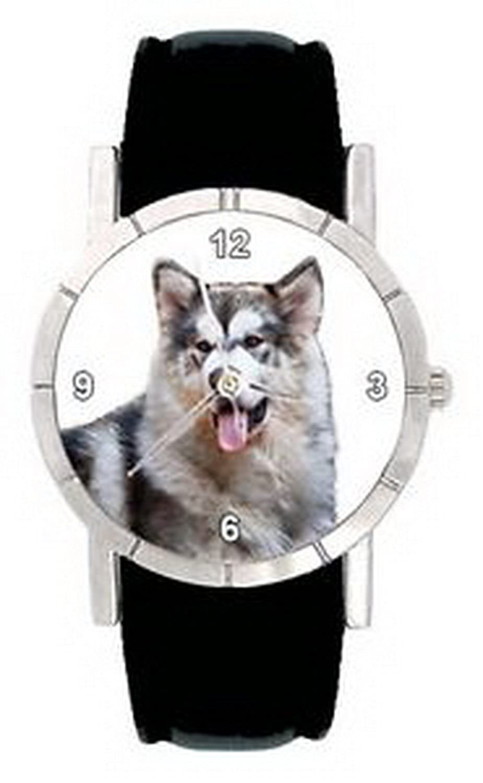 jwl0662 Alaskan Malamute Dog Faceメンズレディース本革クォーツ腕時計 B01N7IOKDW