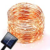 LeMorcy Solar Powered String Lights, 100 LED 33ft Starry String Lights, Copper Wire Lights Ambiance Lighting for Outdoor, Gardens, Homes, Dancing, Christmas Party
