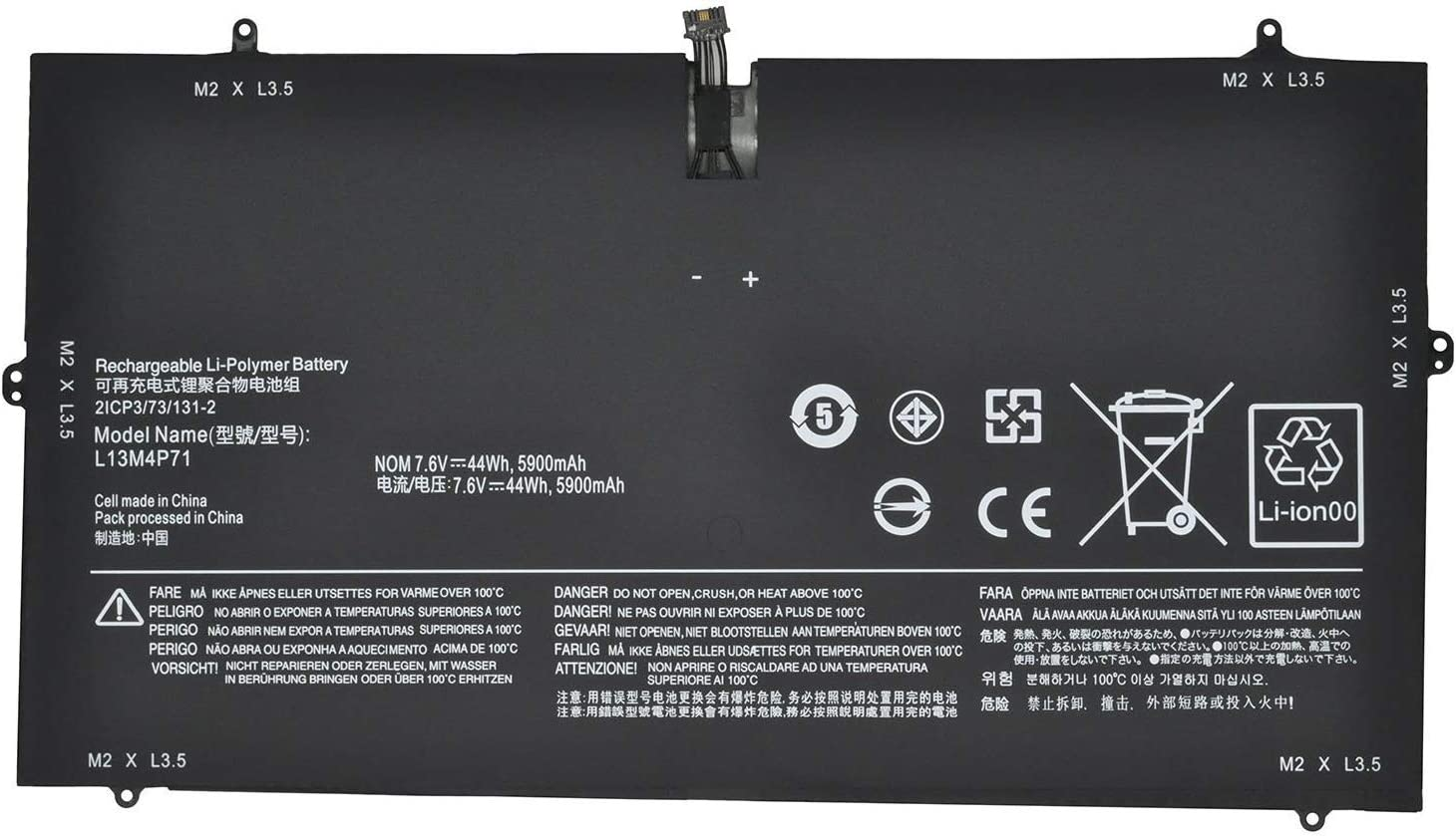 Fully L13M4P71 Replacement Laptop Battery Compatible with Lenovo Yoga 3 Pro 1370 Series - 7.6V 44Wh/5790mAh