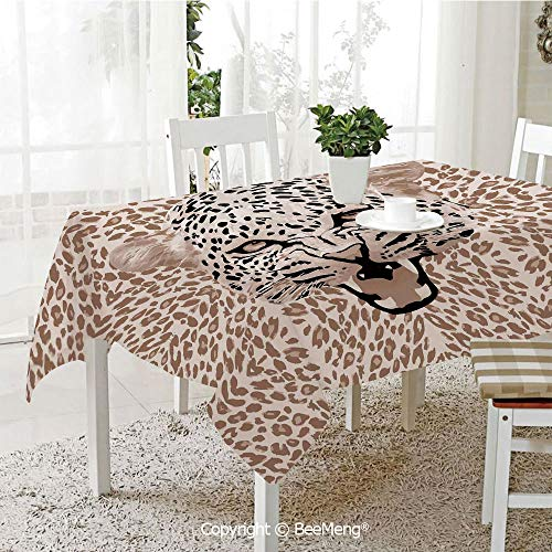 (Large dustproof Waterproof Tablecloth,Family Table Decoration,Modern,Roaring Leopard Portrait with Rosettes Wild African Animal Big Cat Graphic,Cocoa Beige Black,70 x 104)