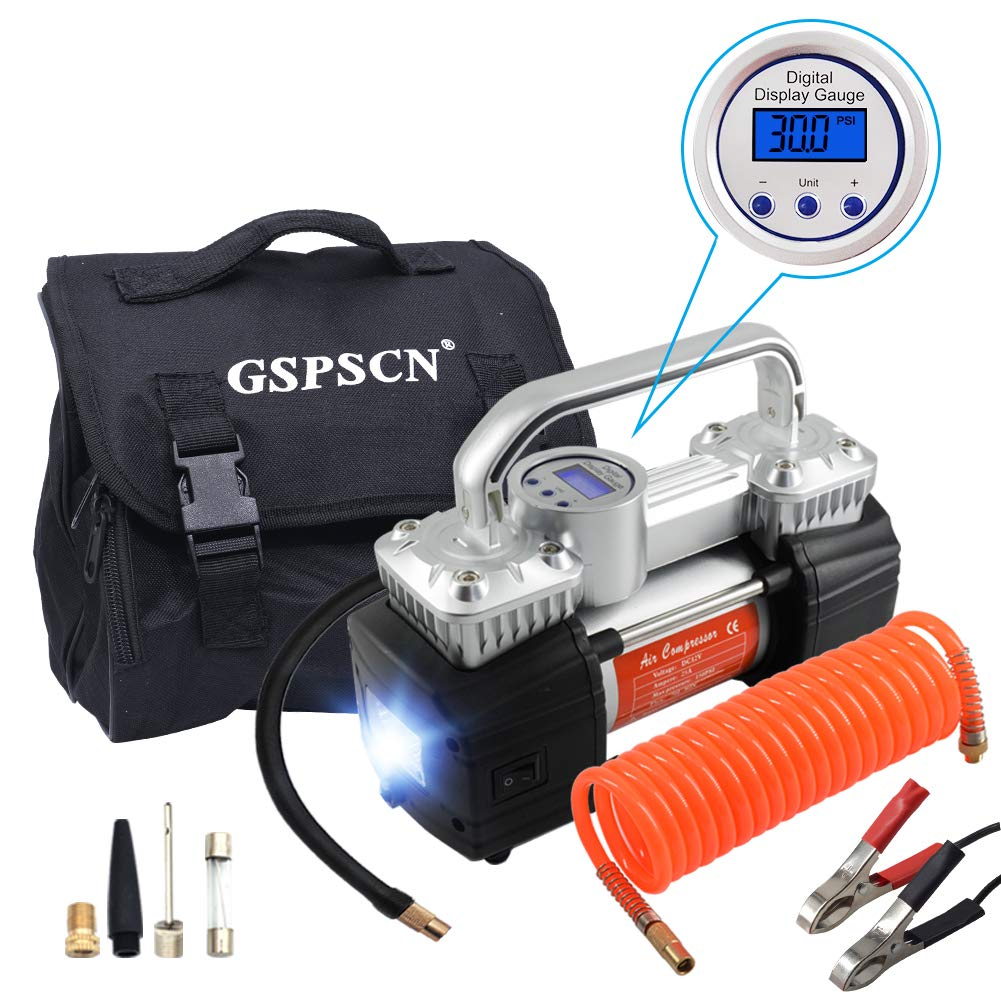 Amazon.com: GSPSCN Portable Air Compressor Pump Heavy Duty Double Cylinders Tire  Inflator 150PSI 12V with LED Flashlight and LCD Digital Display Gauge: ...