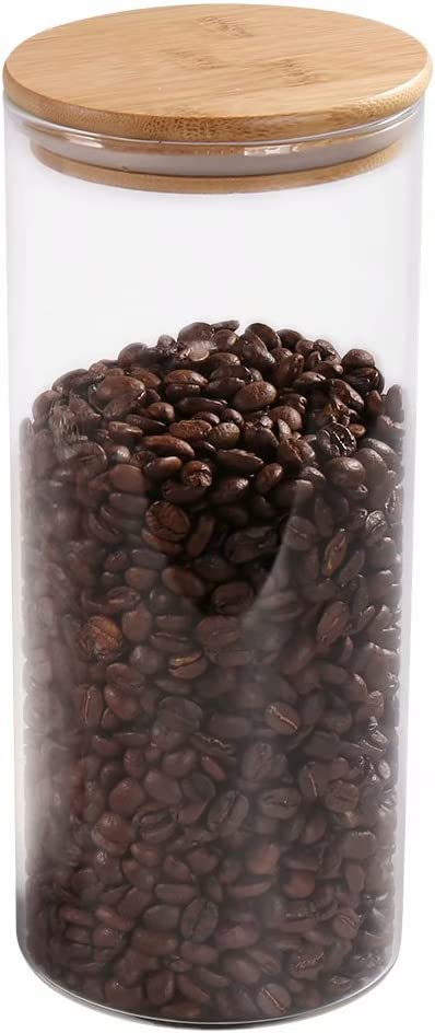 Glass Coffee Bean Container, 52.36 FL OZ (1550 ML), [Thickened Version] 77L Glass Food Storage Jar with Airtight Seal Bamboo Lid - Clear Food Storage Canister for Serving Tea, Coffee, Spice and More