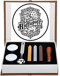 Hufflepuff Badge Wax Seal Stamp Kit, VIHOME Hogwarts Magic School Creative Mysterious Retro Stamp Maker Kit Great for Gift HP Fans Birthday (Hufflepuff)