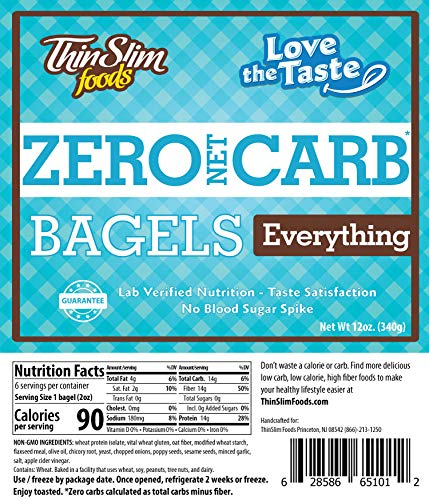 ThinSlim Foods 90 Calorie, 0g Net Carb, Love The Taste Low Carb Everything Bagels