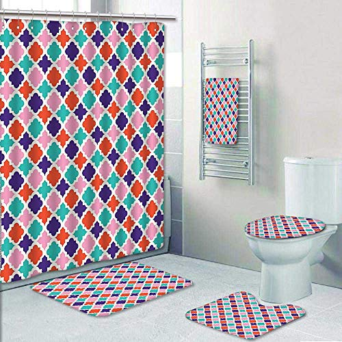 AmaPark 5-Piece Bath Set Hotel Collection with Bath Rug, Shower Curtain, and Bath Towel, Colorful Mosaic Tiles Oriental Asian Islamic Ikat Indonesian Patterns Motifs Decorative Decorate The Bath by AmaPark