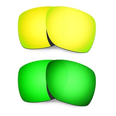 HKUCO Mens Replacement Lenses for Oakley Deviation Red/Blue/24K Gold/Emerald Green Sunglasses GDk6SeRs