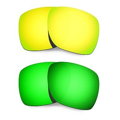 HKUCO Mens Replacement Lenses For Oakley Deviation Red/24K Gold/Emerald Green Sunglasses TdCVVfsLV7