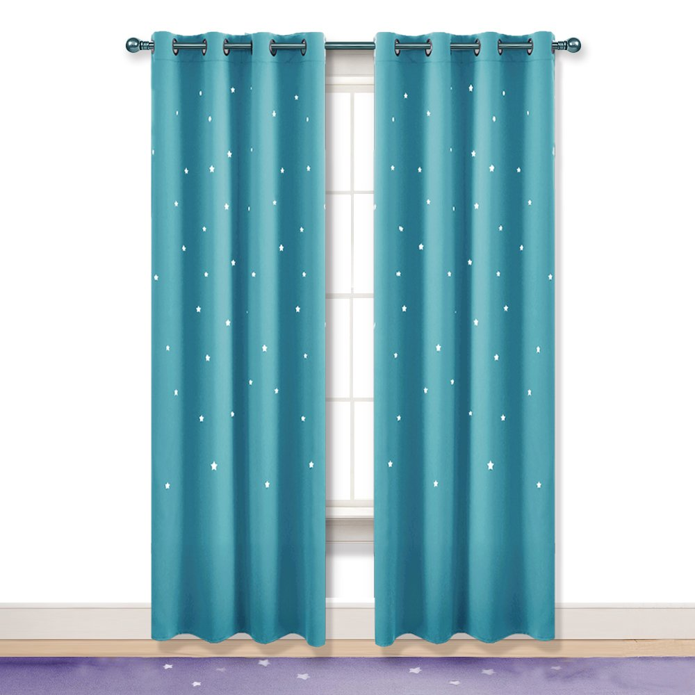 PONY DANCE Star Blackout Curtains - Window Treatments Laser Cutting Stars Grommet Top Room Darkening Curtain Drapes Magical Fairy Girl's Room, 52'' Wide 63'' Long, Turquoise, Double Pieces