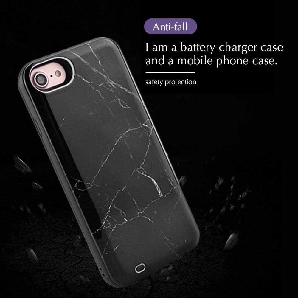 HiKiNS Coque Batterie pour iPhone XS Max /Étui /à Chargeur Rechargeable /Étui de Protection portatif pour iPhone XS Max Design en marbre Noir 6000mAh Noir
