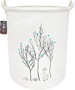 HKEC 19.7'' Waterproof Foldable Storage Bin, Dirty Clothes Laundry Basket, Canvas Organizer Basket for Laundry Hamper, Toy Bins, Gift Baskets, Bedroom, Clothes, Baby Hamper(Bird in The Tree)