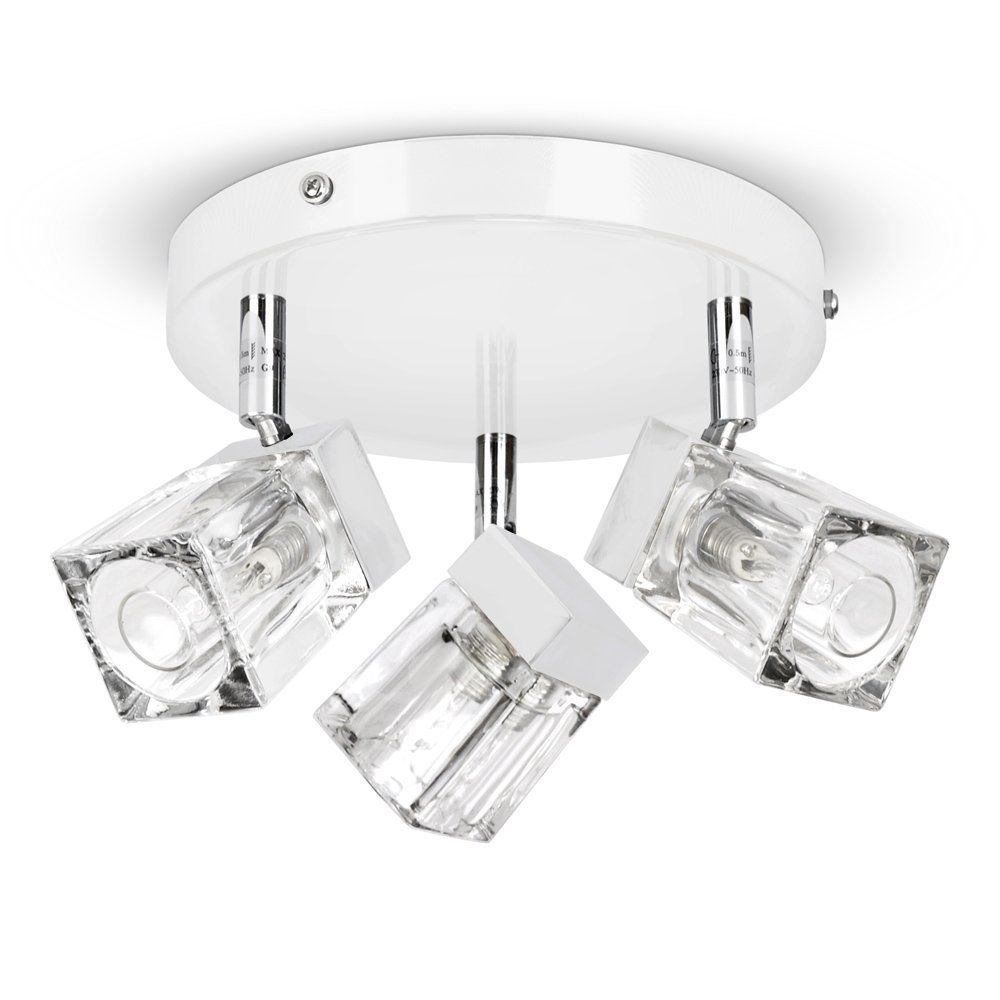 Modern Gloss White & Polished Chrome Ice Cube 3 Way IP44 Bathroom Ceiling Light Spotlight MiniSun