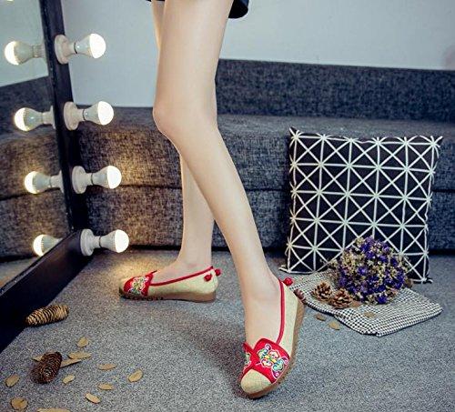 Étnico Moda Estilo Bordado Rojo Casual Mn Aumento Zapatos El Suela Tendón Gamuza De Zapatos Mujeres En Cómodo 8vfwqHvx