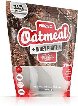 Prozis Oatmeal con Whey Protein 1000g - Cereales Repletos de Hidratos de Carbono de Alta Calidad y Fibras Saciantes -Sabor Brownie de chocolate -Apto ...