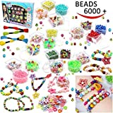 Beads Set 6000 Pieces DIY Beads Kit; 28 Different Types & 4 Color Strings for Jewelry Necklace Making, Friendship Bracelet Making and Valentines Day Children Arts & Crafts Beads by Toy