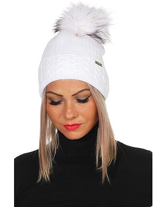 VERONIC Bonnet d\u0027hiver Cool Capuchon Amovible Femme à Pompon