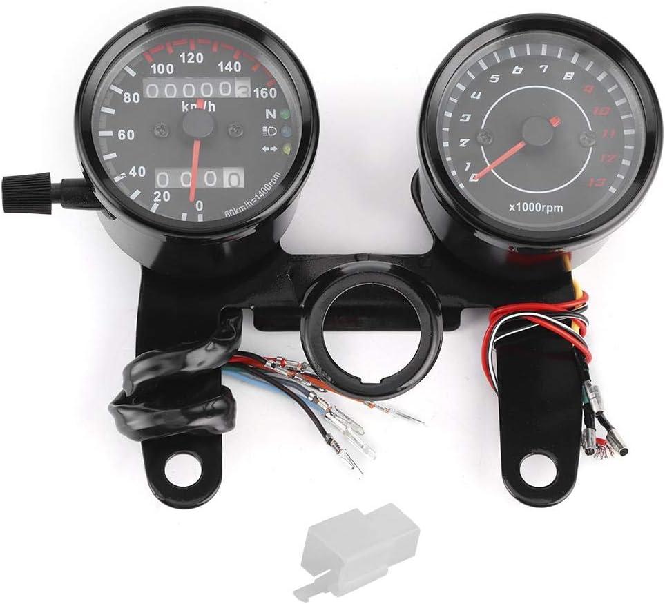 Motorrad Kilometerzähler 2 Stück Universal Retro Led Dual Meter Motorrad Kilometerzähler Drehzahlmesser Geschwindigkeitsmesser Refit Auto