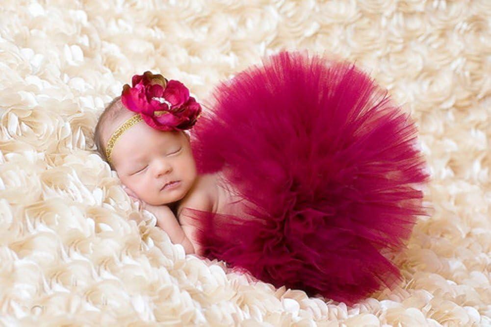 Butterem Neugeborene Baby S/äugling Fotografie St/ütze Kost/üm Outfits Tutu Rock Outfits Blume Stirnband Set Wei/ß