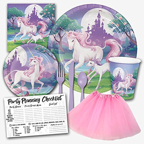Enchanted Unicorn Fantasy Pastel Birthday Party Supplies Set for Girls - Serves 8 Guests Includes Dinner Plates, Dessert Plates, Luncheon Napkins, Assorted Lavender Cutlery, Tutu & Party Checklist