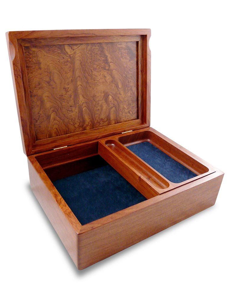 American Handcrafted Bubinga Wood Valet Box