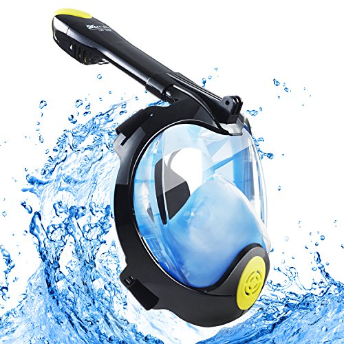 Korginer Snorkel Mask Full Face 180° Panoramic View 2018 Newest Generation Ultra-Wide GoPro Compatible Scuba Mask Upgraded Breathing Anti-Fog Anti-Leak Diving Mask, Panoramic View for Underwater World - Deep See Adventure Mask