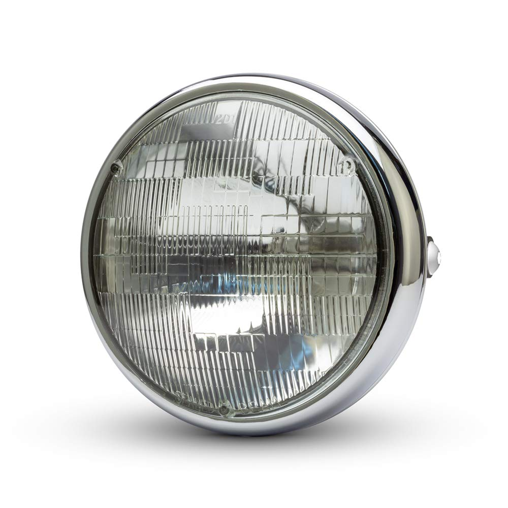 Max-Inc 7.7 Chrome Motorcycle Headlight with Short Metal Housing Classic Sealed Beam Headlamp with Low and High Beam Functions 12V 55W
