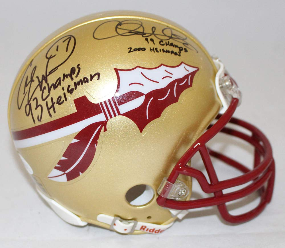 Chris Weinke & Charlie Ward Signed Florida State Gold Mini Helmet JSA