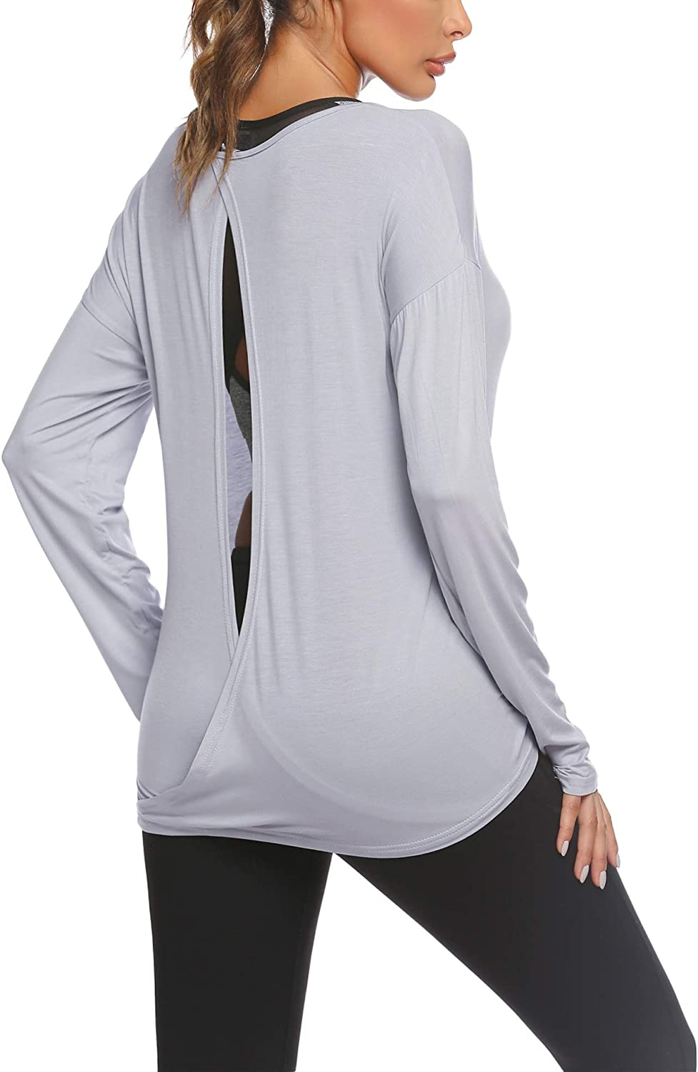 HOTLOOX Women's Long Sleeve Open Back Shirts Loose Backless Workout Yoga Gym Blouse Tops S-XXL