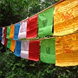 Tryforbest Tibetan Prayer Flag - Medium Traditional Design (10'' x 8'') - Roll of 25 Flags - Handmade - Buddhist Flags - Traditional 5 Element Colors