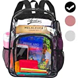 """Clear Backpack, Heavy Duty See Through Backpack, 16"""" Transparent Large Backpack for College - Black"""