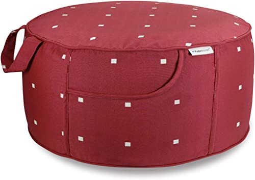 Fabritones Indoor Outdoor Inflatable Stool Round 21×9 Inch Ottoman Red Polka Dot Portable Foot Rest