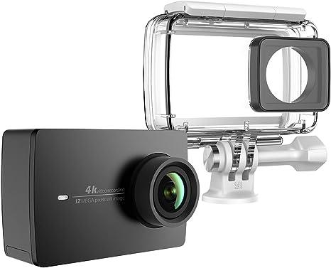YI 4K Cámara de Acción/Deportiva/cámara de Video 4k WiFi Ultra HD con Carcasa Impermeable de Lente de Amplio ángulo con una Pantalla táctil de 2.19pies (EU Versión) (Negro): Amazon.es: Electrónica
