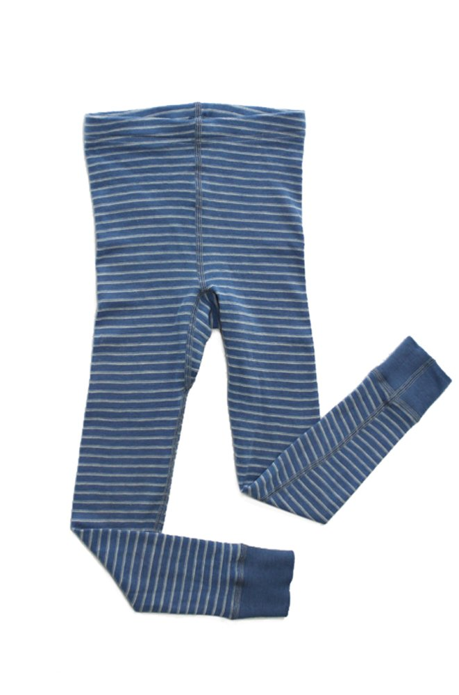 Hocosa of Switzerland Big Boys Organic Wool Long-Underwear Pants, Blue/White Stripe, s. 140/10 yr by Hocosa of Switzerland