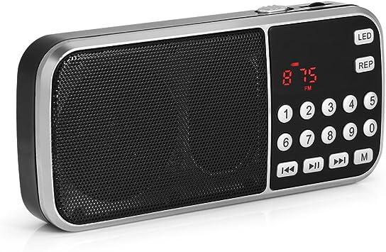 VBESTLIFE Mini Radio FM Portátil Reproductor de MP3 Música con Función de Linterna LED Modo USB / TF / FM / AUX Altavoz Incorporado Soporte Tarjeta TF, disco U: Amazon.es: Electrónica
