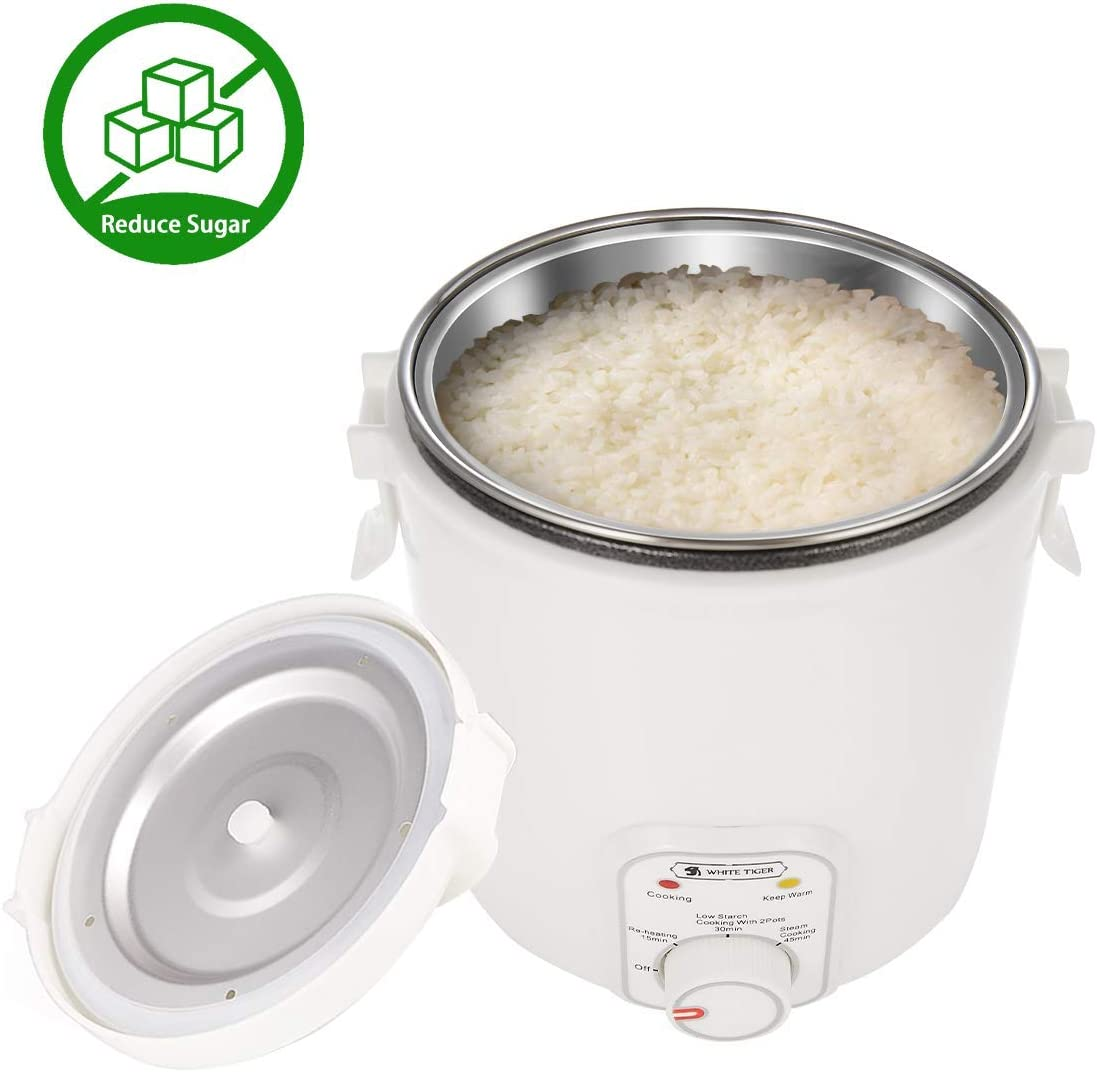 1.2L De-Sugar Mini Rice Cooker, WHITE TIGER Low Starch Cooking Portable Hypoglycemic Small Rice Cooker, Re-heating, Keep Warm, For 1-2 People – For Hyperglycemic,Obesity,Sportsman