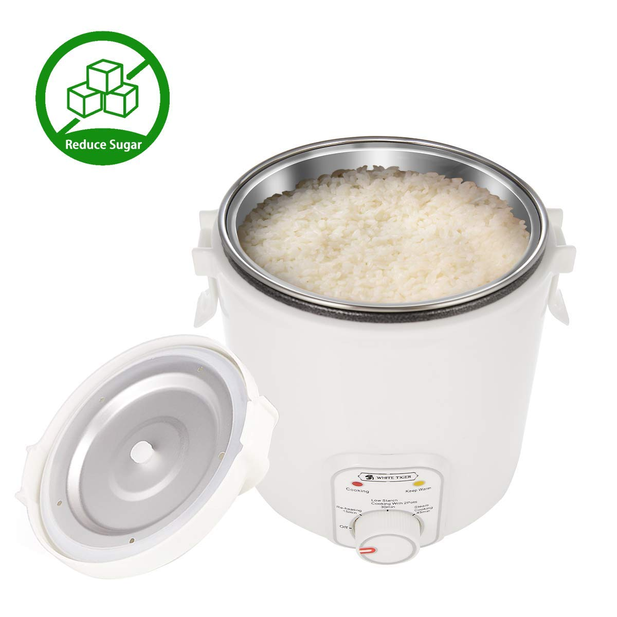 1.2L De-Sugar Mini Rice Cooker, WHITE TIGER Low Starch Cooking Portable Hypoglycemic Small Rice Cooker, Re-heating, Keep Warm, For 1-2 People - For Hyperglycemic,Obesity,Sportsman by WHITE TIGER