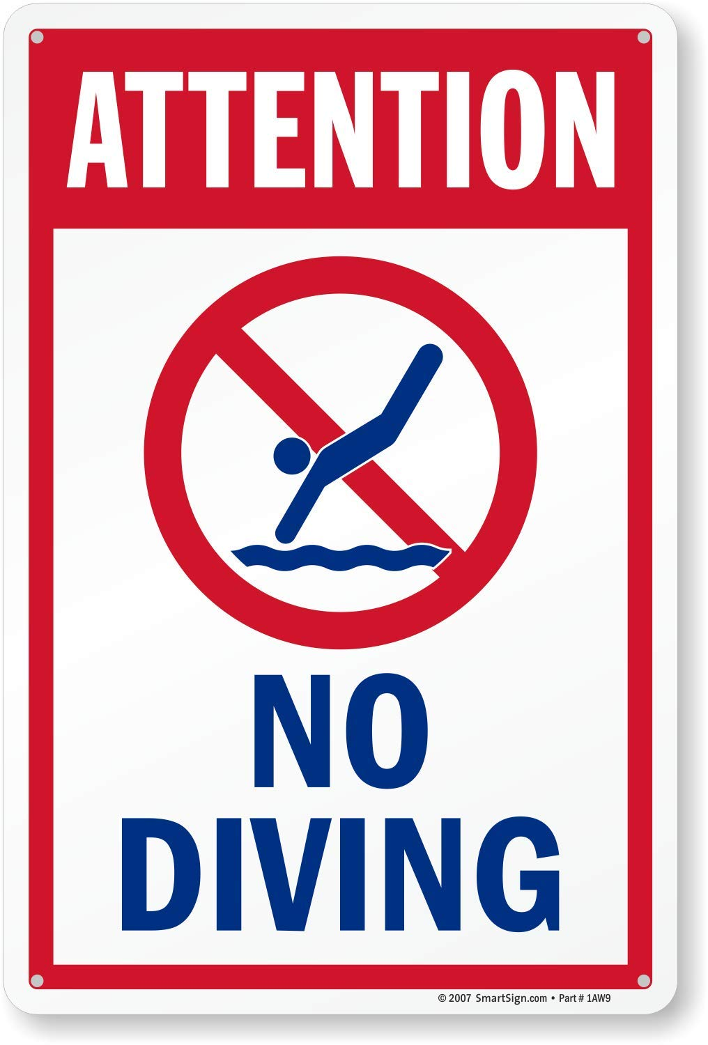 """DANGER NO JUMPING OR DIVING FROM DOCK HEAVY DUTY ALUMINUM SIGN 10/"""" x 15/"""""""