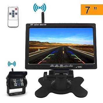 be6810a30fb19 Directtyteam Caméra de Recul Voiture sans Fil 7 Pouces TFT LCD Miroir  Moniteur 18 LEDs (