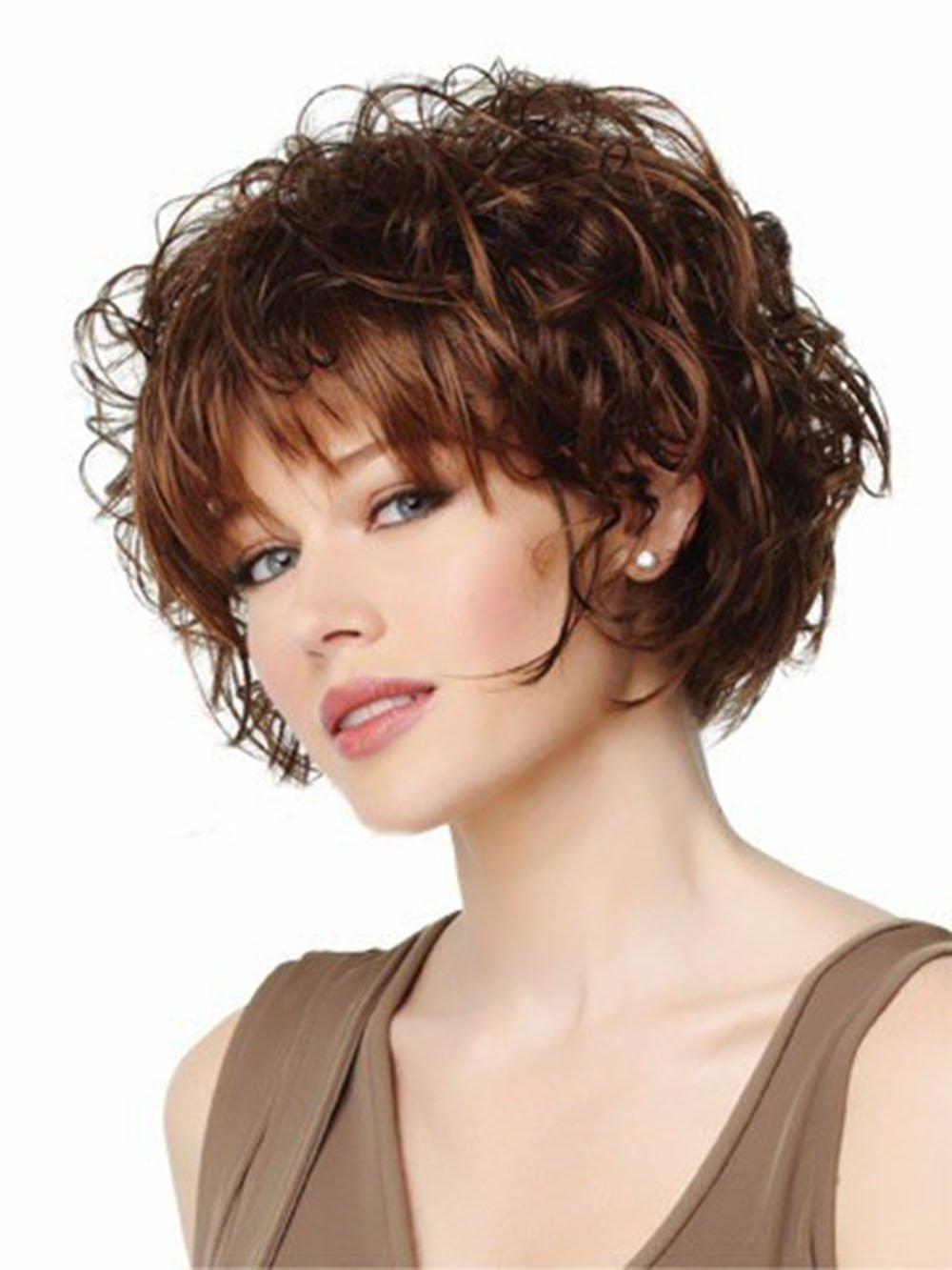 Amazon.com : 2015 Short Curly Hair Wig for Women Synthetic Wigspixie Cut Wig Cap Fashion Pelucas Sinteticas with Bangs (25cm/9.84inch, Brown) : Beauty