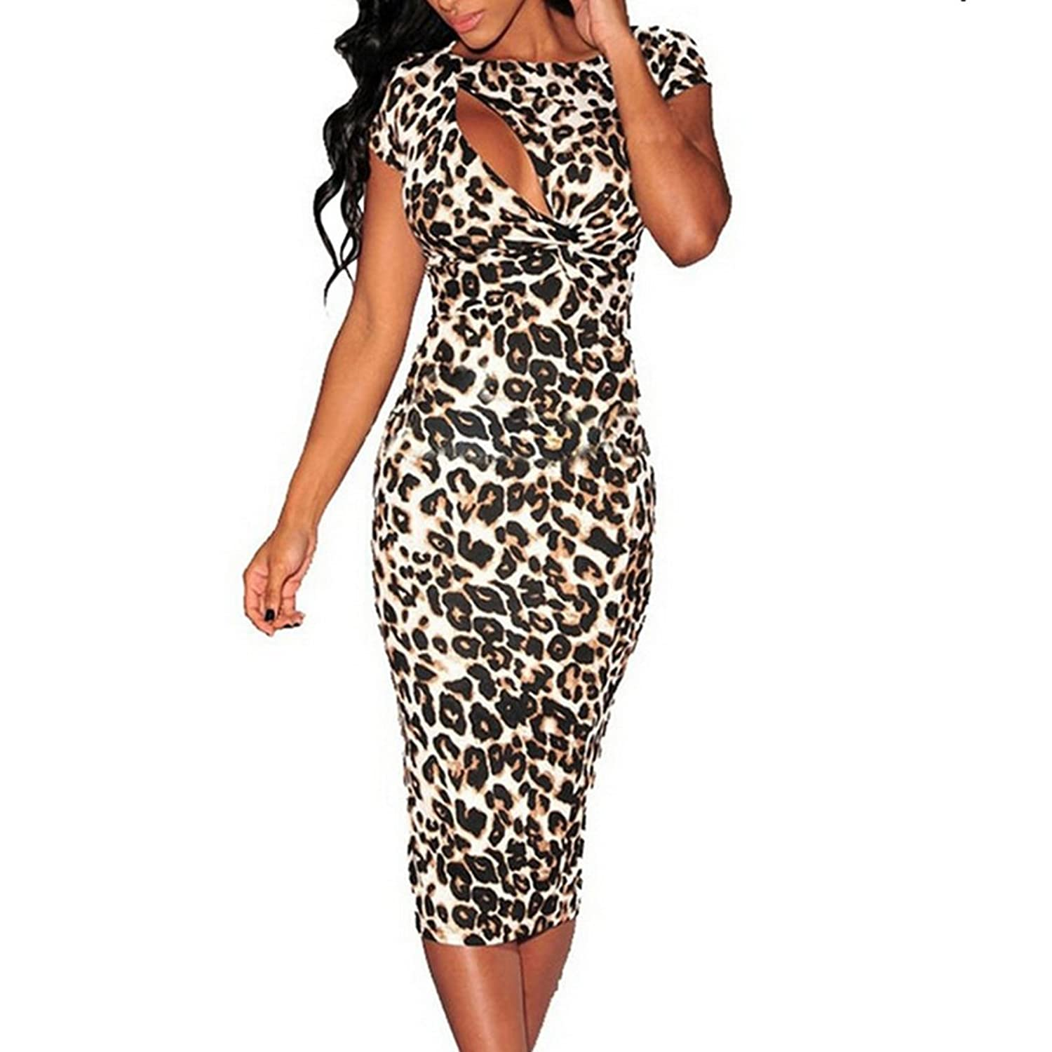 ShangYi Sexy Womens Hollow-out Chest Leopard Tight Cocktail Party Midi Dress