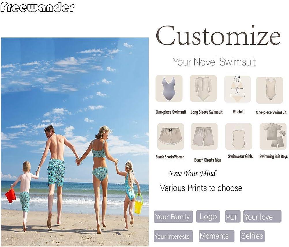 Freewander Family Matching Swimsuit Girls One Piece Boys Trunks Beach Wear Newest Monokini Bathing Suit