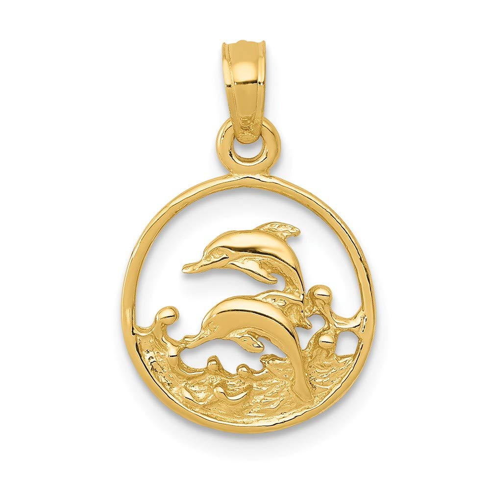 FB Jewels Solid 14K Yellow Gold Double Dolphin Circle Pendant