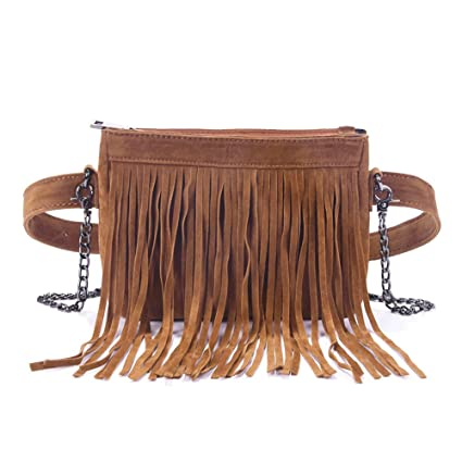 ee56a1fc6b09 Fashion Fringe Tassel Fanny Pack Velvet Belt Crossbody Shoulder Bag Travel  Purse for Women Brown